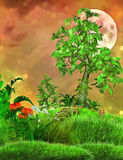Fantasy background with moon and tree Stock Photos