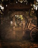 Fantasy background with old wagon royalty free stock photography