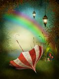 Fantasy background with a rainbow Royalty Free Stock Image