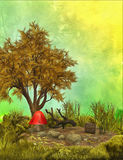 Fantasy background with tree and mushroom Royalty Free Stock Photography