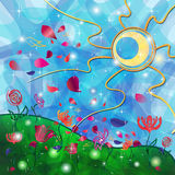 Fantasy background with Tribal Sun and Flowers Stock Photography