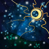Fantasy background with Tribal Sun at Night. Fantasy background with Tribal Sun and field at Night Stock Photography