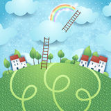 Fantasy background with village and ladders Royalty Free Stock Photos