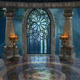 Mysterious ancient palace background. Fantasy background with windows and columns Stock Image