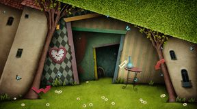 Fantasy Background Wonderland. Conceptual fantasy bright background on the fairy tale Wonderland with  magic door and tree. Computer graphics royalty free illustration