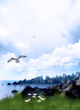 Sescape. Fantasy background for your artistic creations and/or projects Royalty Free Stock Photo