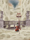 Fantasy balcony. With musical instruments Royalty Free Stock Photo