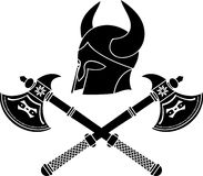 Fantasy barbarian helmet with axes Royalty Free Stock Photo