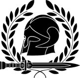 Fantasy barbarian helmet with laurel wreath Royalty Free Stock Images