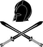 Fantasy barbarian helmet with swords. Stencil. second variant. vector illustration Royalty Free Stock Images