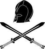 Fantasy barbarian helmet with swords. Stencil. second variant. vector illustration vector illustration