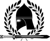 Fantasy barbarian sword and helmet Royalty Free Stock Photo
