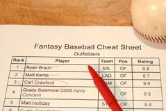 Fantasy baseball draft cheat sheet Royalty Free Stock Images