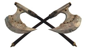 Fantasy Battle Axes. Crossed fantasy style battle axes, 3d digitally rendered illustration Stock Image