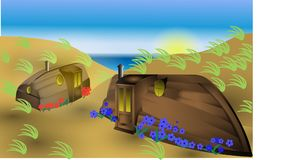 Fantasy on the beach upside down house boats. Vector Illustration of beach huts in the form of upside down boats made into a Hobbit like home Stock Photos