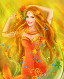 Fantasy Beautiful fairy woman autumn. nature. fashion portrait Stock Image