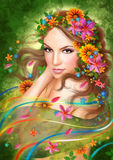 Fantasy Beautiful fairy woman with flowers Royalty Free Stock Images