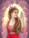 Fantasy beautiful woman holds a bottle in hand Royalty Free Stock Photo