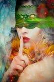 Fantasy beautiful woman silence gesture composite photo stock image