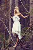 Fantasy Beautiful young Woman in Forest. Fantasy girl in the woods.Beautiful Blond young Woman in Forest.Summer Beauty blonde royalty free stock photos