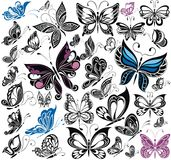 Fantasy big collection of butterflies. Vector Royalty Free Stock Photos