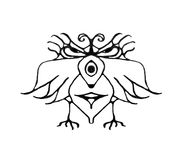 Fantasy Bird with Angry Expression Drawing. Black and white pencil drawing technique fantasy bird with angry or serious expression isolated in white background Stock Photo