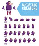 Fantasy Bird creature Game Character Sprite Sheet. For side scrolling 2D games, action, adventure, hack and slash for PC computers, mobile applications and Stock Photos