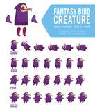 Fantasy Bird creature Game Character Sprite Sheet Stock Photos
