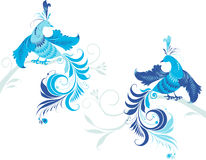Fantasy birds on the branch Royalty Free Stock Photo
