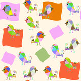Fantasy birds   seamless pattern and seamless pattern in swatch. Menu, vector image Stock Photography