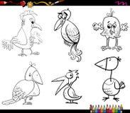 Fantasy birds set coloring page Royalty Free Stock Photos