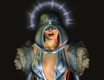 Fantasy blind holy woman. Rendering 3D portrait of a blind holy woman Royalty Free Stock Photo
