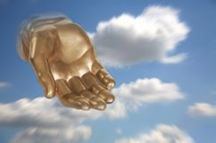 Fantasy Blue Sky With God Like Hand. God's Hand Reaching Out of the Sky Royalty Free Stock Images