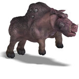 Fantasy boar with huge tusks. 3D rendering of a fantasy boar with huge tusks with clipping path and shadow over white Stock Photography