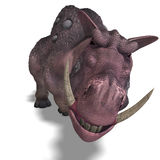 Fantasy boar with huge tusks. 3D rendering of a fantasy boar with huge tusks with clipping path and shadow over white Royalty Free Stock Image