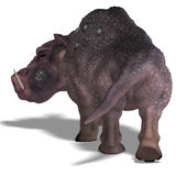 Fantasy boar with huge tusks Royalty Free Stock Images