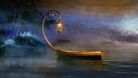 Fantasy boat. On a misty lake Royalty Free Stock Photo