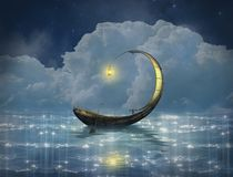 Fantasy boat in a starry night royalty free illustration