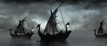 Fantasy boats in the fog Stock Image