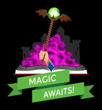 Fantasy Book with Magic Staff Stock Photo