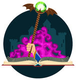 Fantasy Book with Magic Staff Stock Photography