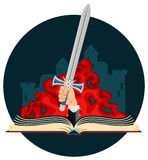 Fantasy Book with Sword Royalty Free Stock Images