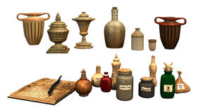 Fantasy bottles and jars Stock Image