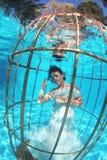 Fantasy bride underwater in a bird cage Stock Photography