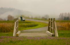 A fantasy bridge with flower and fog in the background. Stock Photo
