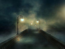 Fantasy bridge in the fog Stock Photo
