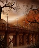 Fantasy bridge with lamps Royalty Free Stock Photos