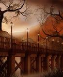 Fantasy bridge with lamps. Fantasy scenery with a bridge and lanterns Royalty Free Stock Photos