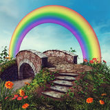 Fantasy bridge and rainbow Stock Image