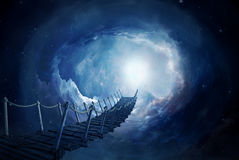 Fantasy bridge in the space. 3D rendering. Bridge on a portal in the space. Photo manipulation, 3D rendering vector illustration